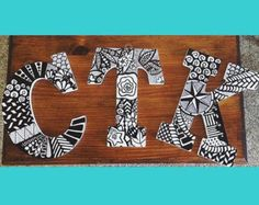 Zentangle wooden block letters- personalized