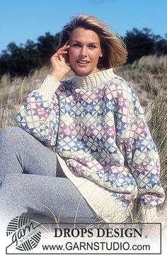 DROPS Sweater i Karisma med stjerner. Gratis opskrifter fra DROPS Design.