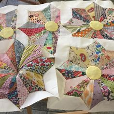 I have been working on these @brigittegiblinquilts Whirling Star blocks - they…