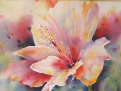 Uninhibited Hibiscus by Yvonne Joyner Watercolor ~ 22 in. x 26 in.