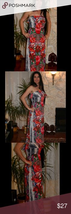Ivory, red, flower off shoulder, maxi dress Perfectly romantic off shoulder flowery, Hawaiian style maxi dress! It's designed so that you will look tall and skinny! Dress has beautiful ruffle around chest and it is cut in the waist. Please note that sizes are running a little bit smaller! ❤️❤️❤️ BohoMoho Dresses Maxi