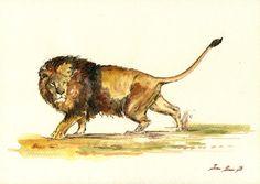 "Male Lion painting male lion watercolor art lover afircan animals 11x8"" 29x21 cm art original Watercolor painting by Juan bosco"