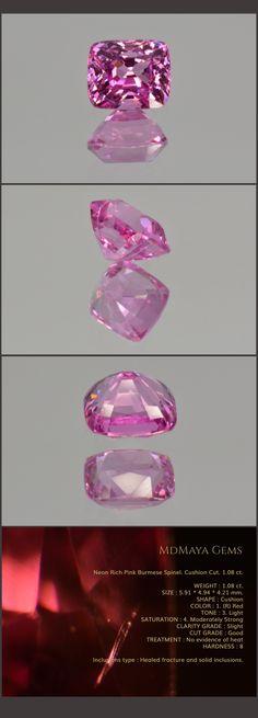 Neon Rich Pink Burmese Spinel. Cushion Cut. 1.08 ct. Loose Pink Spinel Gemstone MdMaya Gems