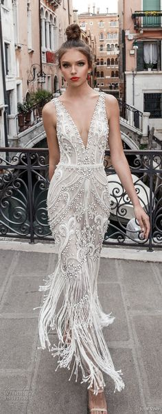 julie vino spring 2018 bridal sleeveless deep plunging v neck full embellishment glamorous elegant sheath wedding dress open v back (07) mv -- Julie Vino Spring 2018 Wedding Dresses