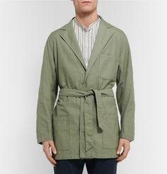 <a href='http://www.mrporter.com/mens/Designers/Camoshita'>Camoshita</a> Creative Director Mr Yasuto Kamoshita was an early adopter of American Ivy League style – the Japanese first looked to the US for inspiration in the late '60s, studying the looks of students at elite East Coast universities. Handmade from sage-green slub cotton, this wrap style combines the softness of Italian tailoring with the large pockets of a chore jacket a...