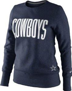 a67995f11 Amazon.com  Dallas Cowboys Women s Navy Nike Tailgater Fleece Crew  Sweatshirt  Sports Outdoors