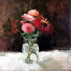 """Last of the Zinnias by Janet Smedley Oil ~ 10"""" x 10"""""""