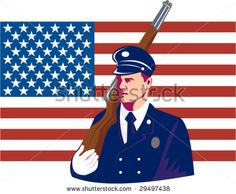 US military serviceman marching with rifle and flag in the background - stock vector #memorialday #retro #illustration