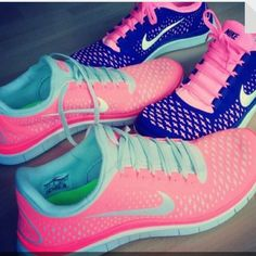 BLUE AND PINK NIKE SHOES