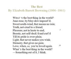 The Best thing in the World Elizabeth Barrett Browning