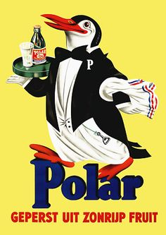 Polar citrus drink ad with a penguin waiter c.1940s vintage advert