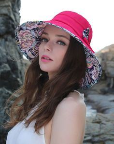 #AdoreWe #VIPme Hats & Caps - Designer Thantrue Rose Red Floral Printed Bowknot Floppy Sun Hat With Neck Cord - AdoreWe.com