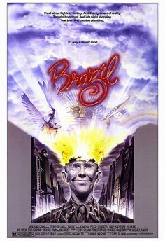 "Brazil is a 1985 British science fiction fantasy/black comedy film directed by Terry Gilliam. It was written by Gilliam, Charles McKeown, and Tom Stoppard and stars Jonathan Pryce. The film also features Robert De Niro, Kim Greist, Michael Palin, Katherine Helmond, Bob Hoskins, and Ian Holm. John Scalzi's Rough Guide to Sci-Fi Movies describes the film as a ""dystopian satire""."