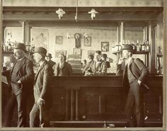 Eagle Rock, Idaho cabinet photo showing the inside of Keefer's saloon.