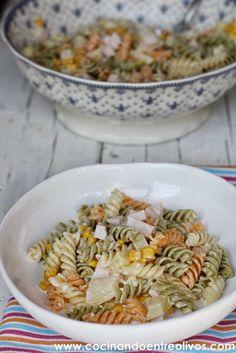 Cocinando entre Olivos: Ensalada de pasta con piña. Receta paso a paso.