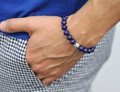 Stylish Blue Lapis Lazuli Gemstone Star Design Bead Ball Unisex Bracelet in Solid Silver is worn by a male model Amethyst Gemstone, Purple Amethyst, Lapis Lazuli Bracelet, Fine Jewelry, Jewelry Making, Adjustable Bracelet, Blue Beads, Beaded Flowers, Beaded Bracelets
