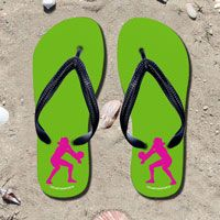 Volleyball Female Player Silhouette on Lime Green Flip Flops - Kick back after a volleyball game with these great flip flops! Fun and functional flip flops for all volleyball players and fans.
