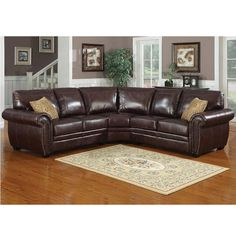 3 pc Louis dark brown leather like fabric upholstered sectional sofa with large rounded arms and nail head trim. This set features the sectional with large rounded arms and accented with a nail head trim on the arms. Sectional measures approx 99 x 3 Piece Sectional Sofa, Leather Sectional Sofas, Corner Sectional, Sofa Set, Brown Sectional, Sectional Furniture, Leather Chesterfield, Brown Couch, Best Sectionals