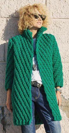 Amazing and Stylish Crochet Cardigan Pattern Ideas - Page 58 of 70 - Daily Crochet! Crochet is m Crochet Coat, Crochet Cardigan Pattern, Crochet Shirt, Crochet Jacket, Sweater Knitting Patterns, Crochet Clothes, Crochet Patterns, Crochet Yarn, Plus Size Cardigans