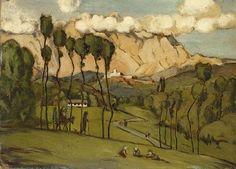 Hans Thoma (All. 1839-1924), Die Berge von Carrara, huile sur carton, 24 x 34,4 cm