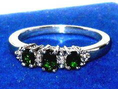 Natural Russian Chrome Diopside 3-stone Ring size 8  #Unbranded #ThreeStone http://stores.ebay.com/JEWELRY-AND-GIFTS-BY-ALICE-AND-ANN