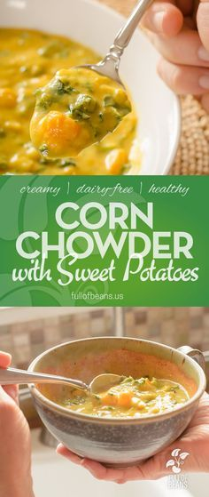 This Vegan Corn Chowder with Sweet Potatoes is a flavor powerhouse with a nutrient-dense list of ingredients. Sweet, creamy, and delicious! Get the full recipe at fullofbeans.us #vegan #dairyfree #vegetarian