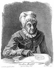 Caroline Herschel was the first woman to discover a comet. Her story is kind of a Cinderella one - deformed by typhus as a child, her parents expected she would have to work as a maid for the rest of her life. But when her brother started taking her along on astronomical outings, she found she had a gift. One of the first women honored by the Royal Astronomical Society, Caroline discovered multiple comets and nebulae.
