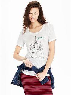 Women's Slub-Knit Graphic Tees | Old Navy