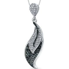 Feather Design Black and White CZ Sterling Silver Rhodium Finish Pendant with 18 inch Necklace Peora. $59.99. Save 75%!
