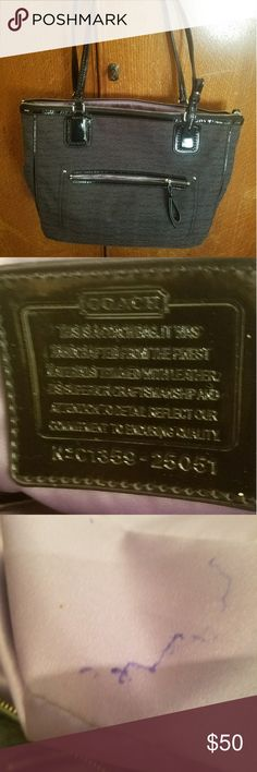Coach Purse Black Coach Purse.  This is a re-posh that I thought was bigger. 12?11?3.  Couple ink spots inside.  Smaller one on side (inside) and other in bottom of lining. Price is negotiable and my closet is buy 2 items and get 30% off or I will create you a bundle of 3 or more items and give you 50% off everything. Coach Bags Satchels