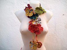 Crochet Neck wrap Lariat Scarf Flower Colorful by scarfnurlu