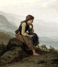 """The Little Goat Herder"", by German artist - Johann Georg Meyer von Bremen Oil on canvas. European Paintings, Classic Paintings, Beautiful Paintings, Hermann Hesse, Mary Cassatt, Classical Art, Fine Art, Matisse, Monet"