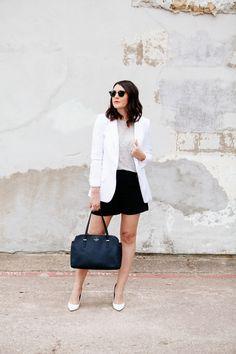 White blazer, grey linen tee, black shorts, white heels :: neutral style #basicstyle