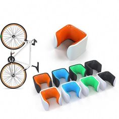 Shop Hornit CLUG Bike Clip - Bicycle Rack Storage System for Home, Garage, or Outdoor Cycle Stand and Mount (Roadie - White/Orange). Bicycle Storage, Bicycle Rack, Scooter Storage, Bicycle Shop, Mountain Bicycle, Mountain Biking, Indoor Bike Rack, Indoor Bike Storage, Vertical Bike