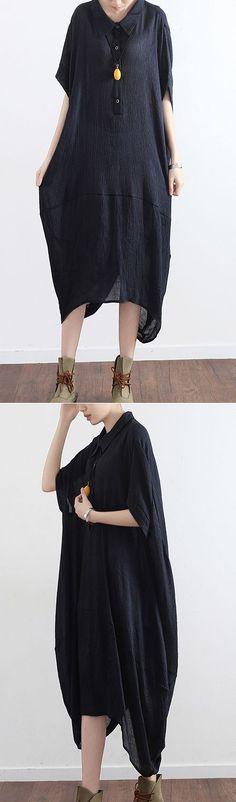 black casual  dresses plus size asymmetricsundress short sleeve maxi dress