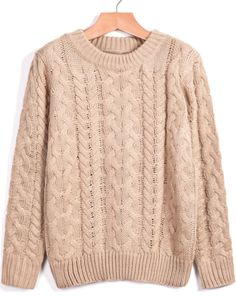Shop Khaki Round Neck Long Sleeve Cable Knit Sweater online. Sheinside offers Khaki Round Neck Long Sleeve Cable Knit Sweater & more to fit your fashionable needs. Free Shipping Worldwide!