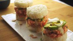 Sushi Burger Chef Sushi, Sushi Burger, Rice, Food, Salmon, Bon Appetit, Recipes, Meals, Laughter