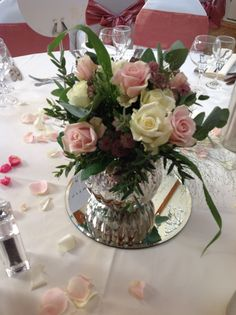 Mirrored globes with roses