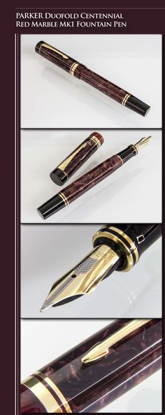 PARKER Duofold Centennial Mk1 Red Marble Fountain Pen (acrylic body, 23kt gold-plated trim, 18kt gold dual-tone nib) - 1987 / UK