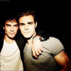 Ian Somerhalder and Paul Wesley the Salvatore brothers on Vampire Diaries.And also 2 very beautiful men! The Vampire Diaries, Vampire Dairies, Vampire Diaries The Originals, Paul Wesley, Damon Salvatore, Delena, The Cw, Ian E Nina, The Salvatore Brothers