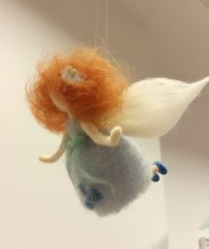 This is one miniature figurine- delicate sweet doll with red- brown wave hair. She has beautiful blue dress with sweet flowers and a ribbon on it. I made it of needle felted wool with lot of love and attention. This doll is perfect decoration for the childrens room or in nursing. Great