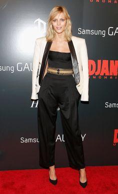 Anja Rubik wore Balmain at the Django Unchained screening in New York.