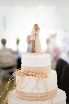 Simple Country Wedding Cake. Love the topper...its so sweet! Bus willow tree topper added