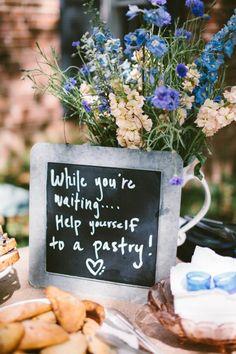 Dessert Bar Inspiration: Rustic chalkboard sign for dessert table #chalkboard #pastry #rustic #dessert