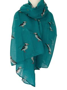 PEONY SEAGULLS SCARF Soft Ladies Blue White Beach Sea Gulls Bird Scarves Present