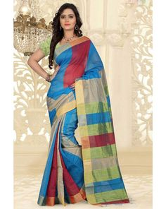 Sky Blue Silk Cotton Saree With Blouse 66541
