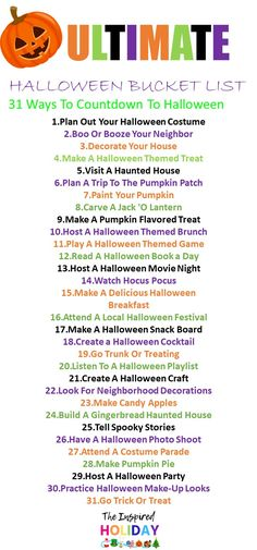 Halloweeen 2020 is going be one we never forget. Try out this ultimate Halloween bucket list. It's filled with 31 was to countdown to Halloween. There are a ton of great Halloween activities you can try this year. Halloween Bucket List, Halloween Movies List, Halloween Movie Night, Halloween Buckets, Halloween This Year, Halloween Dinner, Halloween Books, Halloween Festival, Halloween Photos