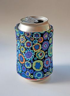 Blue Can Cozy Soda Cozy with a Blue by CreativeQuiltsAndEtc