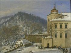Carl Robert Croll (German, 1800 - 1863) | The southeast corner of Jezeří castle in winter with Ferdinand Joseph, 8th Prince Lobkowicz, in a sleigh | Oil on canvas | 1841