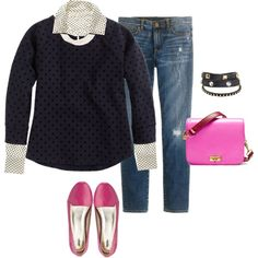 i like the layered look with a pattern or color under a solid sweater. i also like the subtle same -color pattern on this sweater